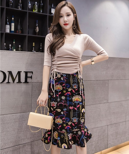Elegant Printed Fishtail Large Size Lady Skirt