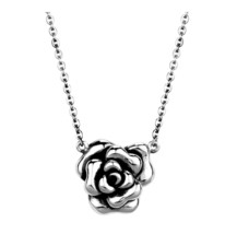 """Womens Ladies 18"""" Solid Stainless Steel Chain Rose of Sharon Pendant Necklace - $27.50"""