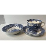ENGLISH VILLAGE SALEM CHINA CO OLDE STAFFORDSHIRE CUP, SAUCER, BOWL BLUE... - $11.83
