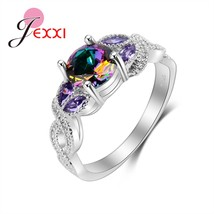 Top Ring Vintage Sterling Silver Rings Rainbow Bague Women Engagement De... - $9.08