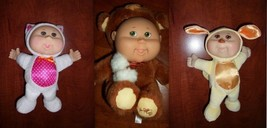 "CABBAGE PATCH KIDS ~ LOT of 3 ~ 7"" Snugglies WHITE CAT, BROWN BEAR, YELL... - $9.89"