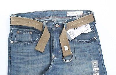 Lee Dungarees Kids Slim Straight Zip Jeans Adjustable Waistband 18 R Blue Denim