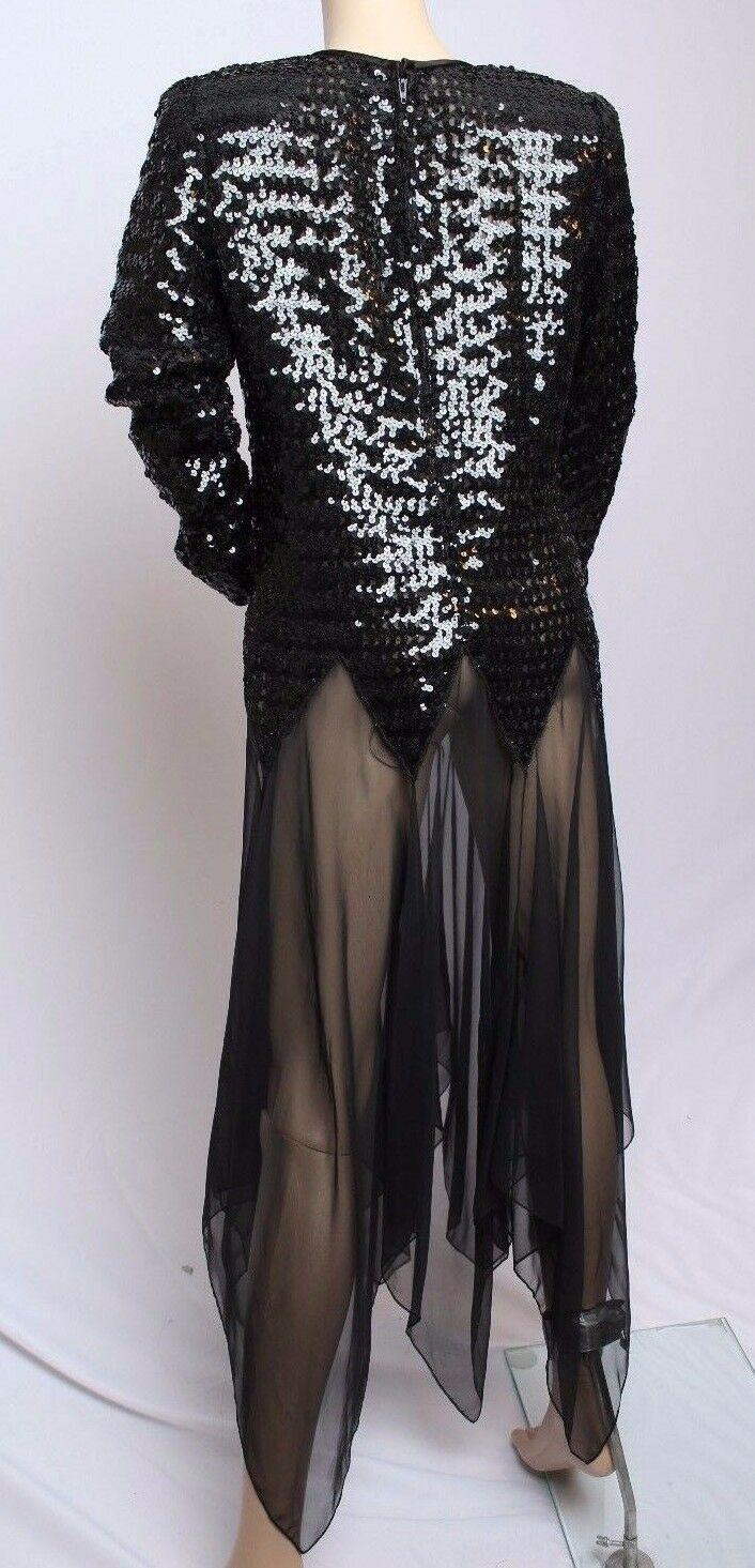 Vintage 21.3ms 24.4ms Denise Fashions Noir Pur Sequin Fête Cocktail Disco Robe