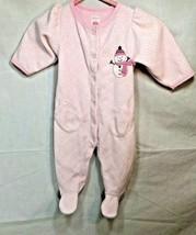 Carter Baby size 6 Months Pink 1 Piece Footie Sleepwear Snowman Pajamas ... - $7.91