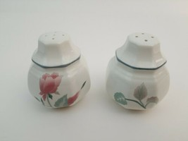 Japan Salt Pepper Shakers Mauve Floral Design 3 x 2.5 Inch Contempory - $24.49