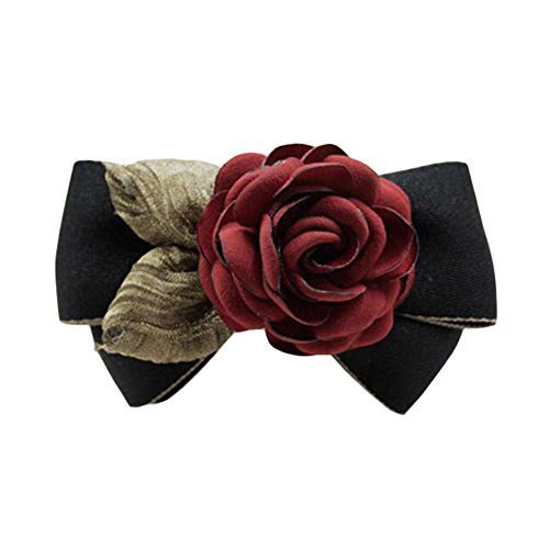 Hair Accessories Cloth Handmade Barrettes Rose Hair Barrette Bowknot Black/Red