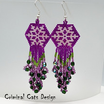 Snowflake Dangle Earrings Purple Green beaded - $35.00
