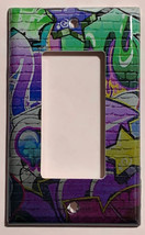 Street Art Wall Painting Purple Light Switch Outlet wall Cover Plate Home decor image 2