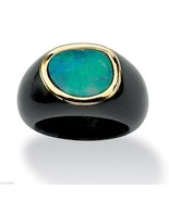 10K GOLD BLUE OPAL AND BLACK  JADE RING SIZE  6,7,8,9,10 - $341.99