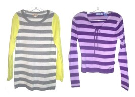 Size Jrs. Large - Lot of 2 Mudd Striped Long Sleeve Sweaters - $37.99