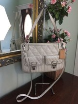 Coach Poppy Hippie 19856 Shoulder Crossbody Bag Leather Pearlescent Whit... - $67.72