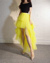 High Low Tulle Skirt Long Layered Tutu Skirt Outfit Plus Size Yellow Hi Low image 3