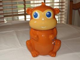 Home Cookie Jar Monkey Orange ceramic canister storage blue eyes ~ - $49.49