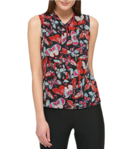 Tommy Hilfiger Butterfly-Print Tie-Neck Top size M - $16.63