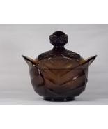 Viking Glass Brown Epic Leaf Covered Candy Jar #7614, aka Cabbage Leaf, ... - $57.00