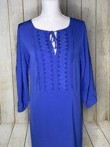 Diane von Furstenberg Silk Iliana Shift Dress Blue Embellished Neckline 2 Blue image 3