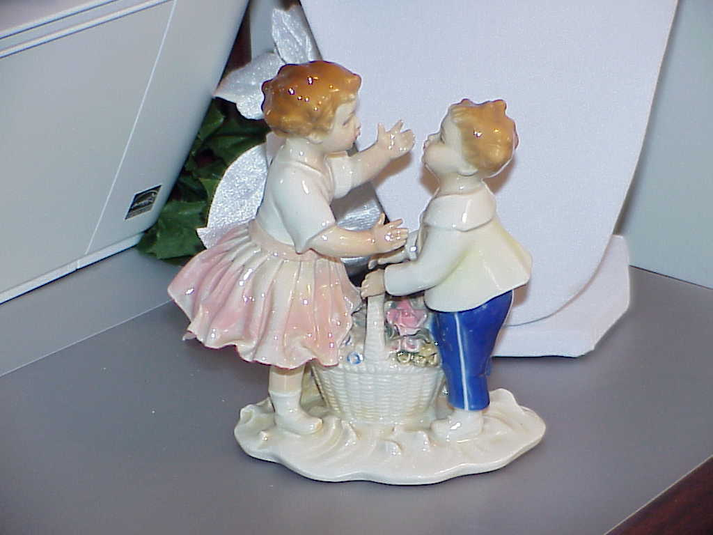 Primary image for KARL ENS VOLKSTEDT GERMANY FIGURINE BOY & GIRL KISS W/BASKET c 1919