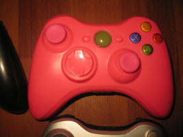 (VG-1) Xbox 360 controller - newly Rebuilt w/ the pink set - Wireless - $14.00