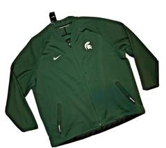Nike men's MSU collage university Full Zip jacket Green Therma Sideline ... - $61.39