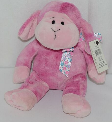 GANZ HE9835 Lambie 11 Inch Pink Tie Dye  With A Snowflake Bow