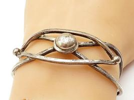 925 Sterling Silver - Vintage Dark Tone Dome Interlaced Cuff Bracelet - ... - $88.31