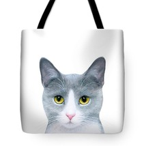 Tote bag All over print Cat 611 grey gray art painting by L.Dumas - $26.99+