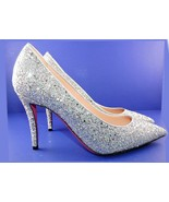GUCCI Virgina Pointed Toe Silver Glitter Pumps 38.5 Heels Shoes - $289.00