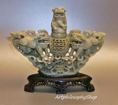 1918 Hand Carved Chinese Genuine Soapstone Incense Burner Censor  - $499.00