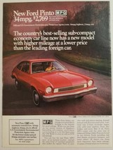 1975 Print Ad Ford Pinto Red 2-Door Sedan 34 MPG Higher Mileage - $14.71