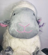 "Animal Adventure SHEEP LAMB 15"" Plush White Gray Gingham Ribbed Belly 2018 - $36.36"