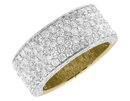 Mens Wedding Diamond Ring Band 14k Yellow Gold Finish 925 Sterling Solid... - £71.18 GBP