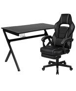 Flash Furniture Black Gaming Desk with Cup Holder/Headphone Hook with Fo... - $479.69