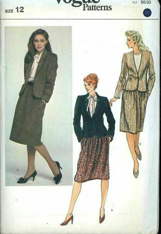 Primary image for Vogue 8106 Misses Jacket & Skirt Size 12 (Bust 34) Vintage Uncut Sewing Pattern