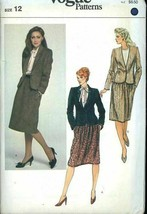 Vogue 8106 Misses Jacket & Skirt Size 12 (Bust 34) Vintage Uncut Sewing Pattern - $20.55