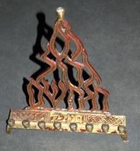 Judaica Menorah Hanukkah Vintage Israel Flame Nes Gadol Bronze Red Signed KL  image 2