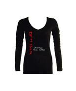 Krav maga English/Hebrew women v neck slim fitted long sleeves graphic t... - $13.99
