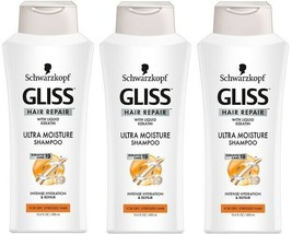 3 SCHWARZKOPF Gliss Hair Repair w/ Liquid Keratin Ultra Moisture Shampoo... - $22.77