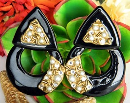 Vintage Door Knocker Hoop Earrings Pierced Black Enamel Rhinestones - $27.95