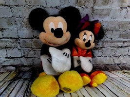 "Disney store Minnie Mouse As Bat Halloween Plush 15"" Doll Plush Toy & Mickey LOT - $29.95"