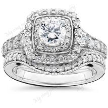 White Diamond Engagement Ring Bridal Ring Set 14k White Gold Plated - $135.00