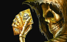 "5"" Grim Reaper holding Dead Mans Hand vinyl sticker. Angel of Death poke... - $2.92"