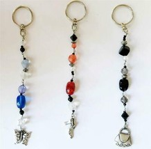 Key Chain Key ring  Silvertone Stones Butterfly Shoe Purse NEW Stocking ... - $5.99