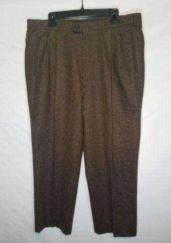 BOBBY JONES MEN'S DRESS GOLF PANTS LAMBS WOOL BROWN PLEATED FRONT 38 X 27