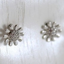 White Gold Earrings 750 18k, Daisies, Flowers Long 0.7 cm, with Zirconia image 2