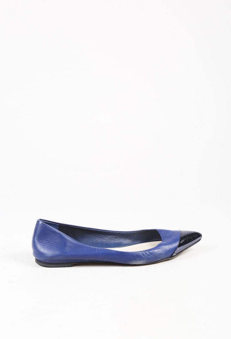 Christian Dior Blue Leather Pointed Cap Toe Ballet Flats SZ 39.5