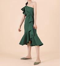 Women Dark Green One Shoulder Midi Dress Green Wedding Bridesmaid Chiffon Dress  image 4