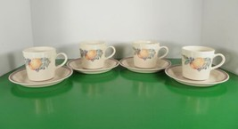 Corelle ABUNDANCE Cup and Saucer Set (s) LOT OF 4 Corning Blue Maroon Bands - $22.72