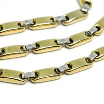 18K YELLOW WHITE GOLD CHAIN, TUBE AND OVAL ALTERNATE LINK, 20 INCHES, ITALY MADE image 2