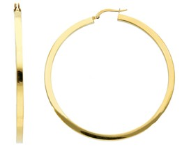 18K YELLOW GOLD CIRCLE EARRINGS DIAMETER 50 MM WITH SQUARE TUBE   MADE IN ITALY image 2