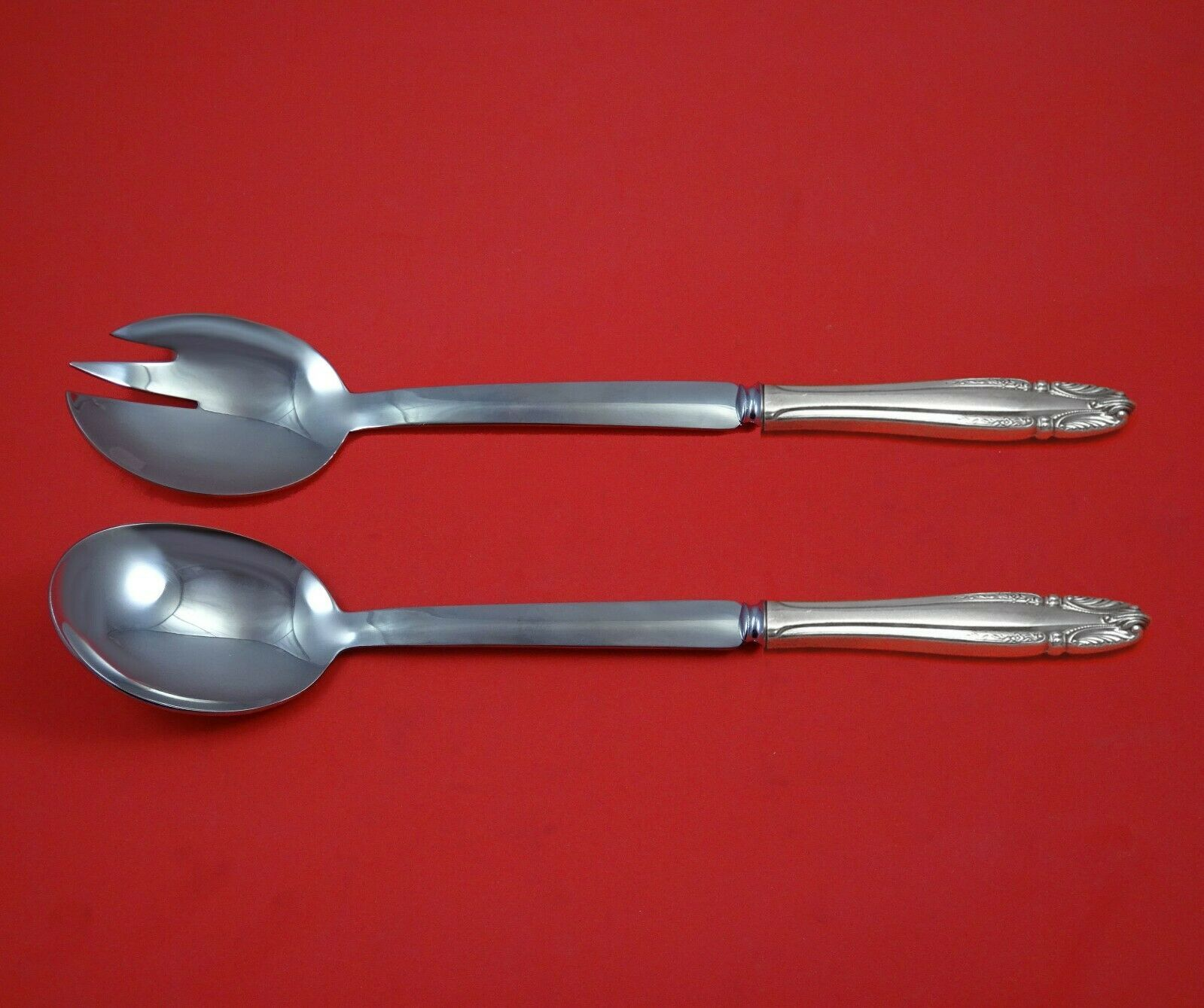 Primary image for Stradivari by Wallace Sterling Silver Salad Serving Set Modern Custom 10 1/2""